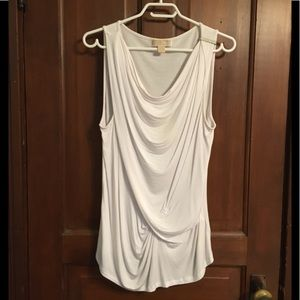 White Michael Kors sleeveless draped top